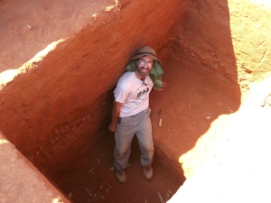 At the bottom of a pit in Malawi in 2013