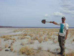 Pointing the wind direction in the Chalbi Desert, Kenya