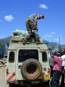 Loading up with supplies in Voi, Kenya