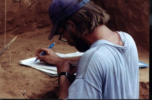 Taking notes in Tsavo, Kenya, 2001